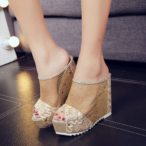 Women Flip Flops Hollow Wedge High Heel Shoes, Ladies Summer Sandals