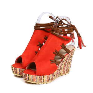 SPECIAL OFFER: New Wedge Sandals, Women Summer lace up High Heels, Ladies Party Shoes