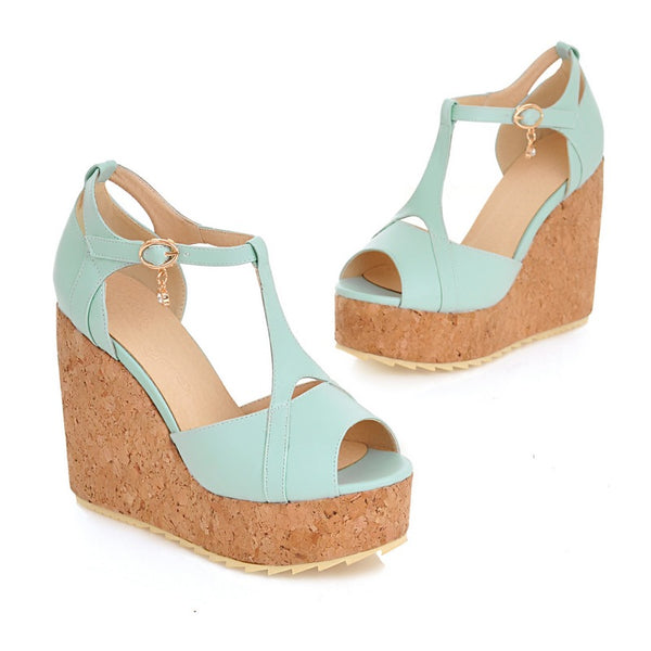 SPECIAL OFFER: New women high wedges heel sandals, T-strap shoes platform
