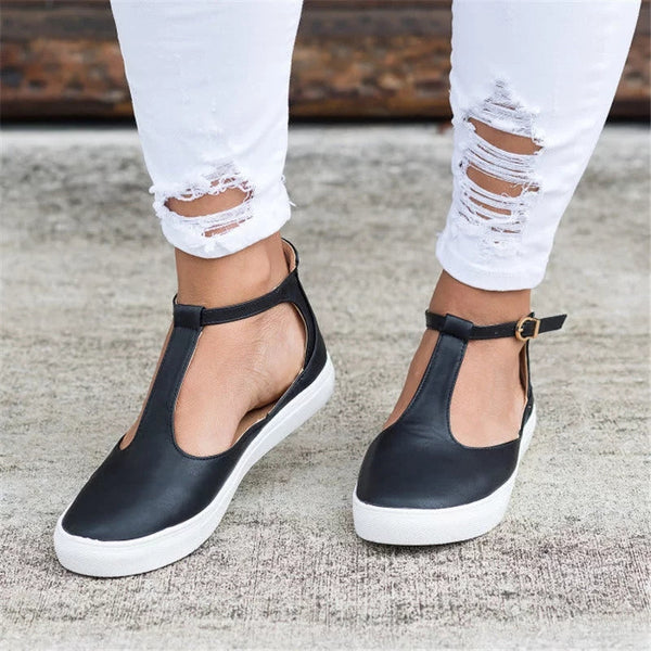 New 2018 Summer Ladies Fashion Closed Toe Flat Shoes, Solid Footwear Breathable