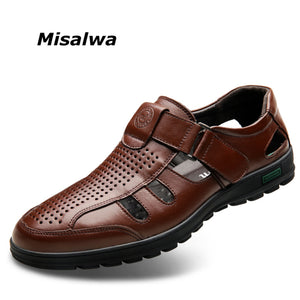 Misalwa Quality Genuine Leather Shoes, Hollow-out Breathable Summer Leather Casual Shoes