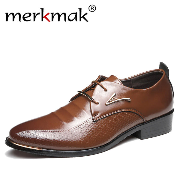 Merkmak Fashion Dress Shoes Pointed Toe Lace Up, Business Shoes, Leather Oxfords Flats Big Size