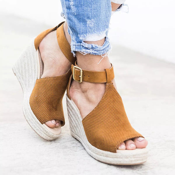Summer Sandals Wedge, Peep Toe High Heels Shoes, Beach Shoes, Fashion Platform Rome Size 42 43