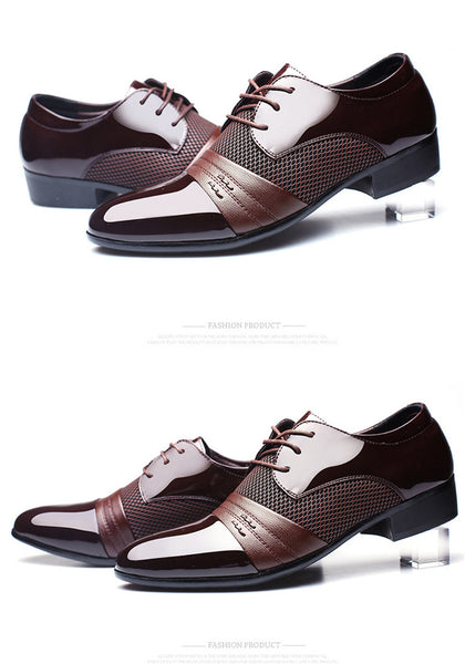 Merkmak Brand Genuine Leather Oxford Men's Dress Shoes, Business Flat Breathable Wedding Shoes 48