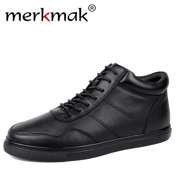 LIMITED STOCK: Merkmak Winter Boots With Fur Lace Up Warm Snow High Quality Leather Luxury