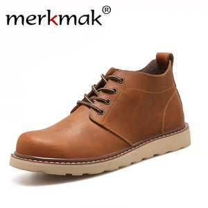 LIMITED STOCK: Merkmak Leather Fashion for Autumn Winter Ankle Lace Up High Quality Vintage Shoes