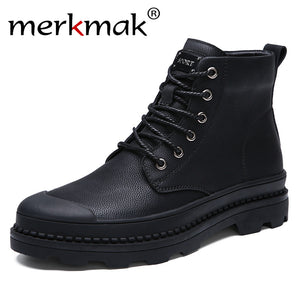 LIMITED STOCK: Merkmak Boots With Fur Business Casual For 2018 Winter/ Autumn Fashion Basic Warm Boots Ankle Lace Up