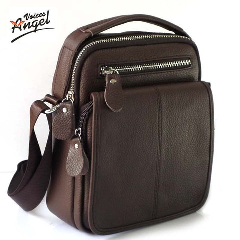 Genuine Leather Cowhide Shoulder Fashion Messenger Crossbody Bags Handbags Brown Travel Bag