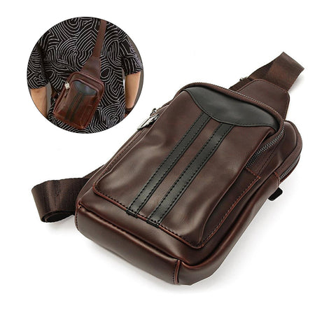 SPECIAL OFFER: Men's Sling Pack Chest Bag Shoulder Backpack Cross Body PU Leather Bags Daypack (Coffee)