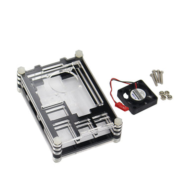 Transparent Acrylic Case and Mini Cooling Fan for Raspberry Pi