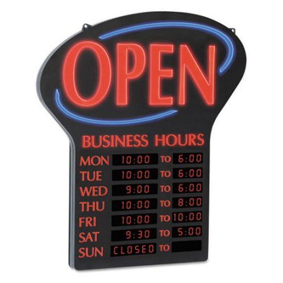 Newon LED Open Sign With Business Hours
