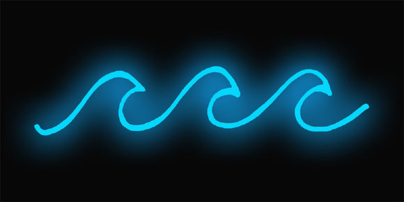 blue waves neon sign