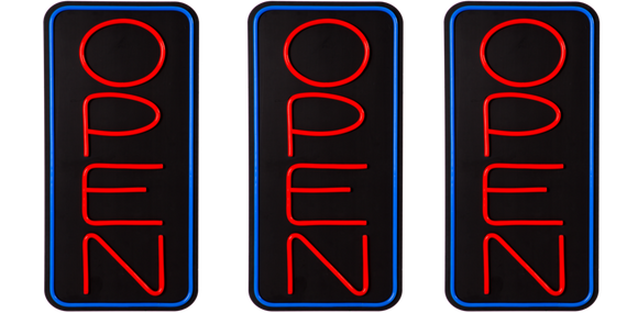 Large Vertical LED Open Sign With Remote