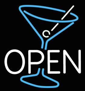 Custom OPEN Cocktail Glass Neon Sign