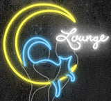 Custom Cat On Moon Lounge Neon Sign