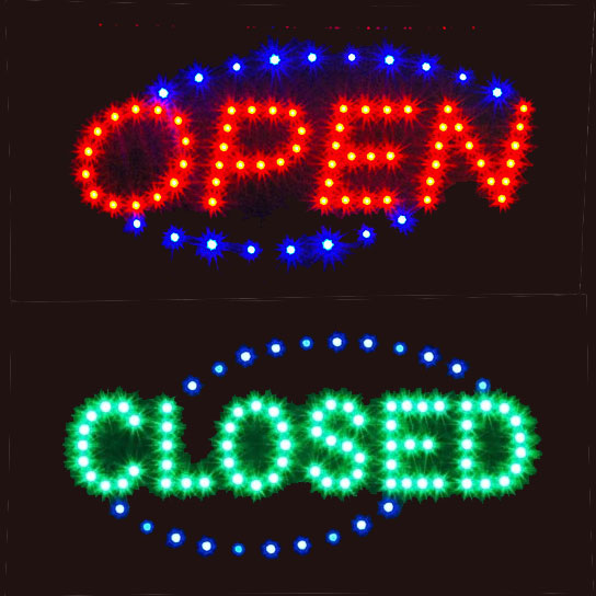 Open Closed Led Sign With Oval Border Neonsignly Com