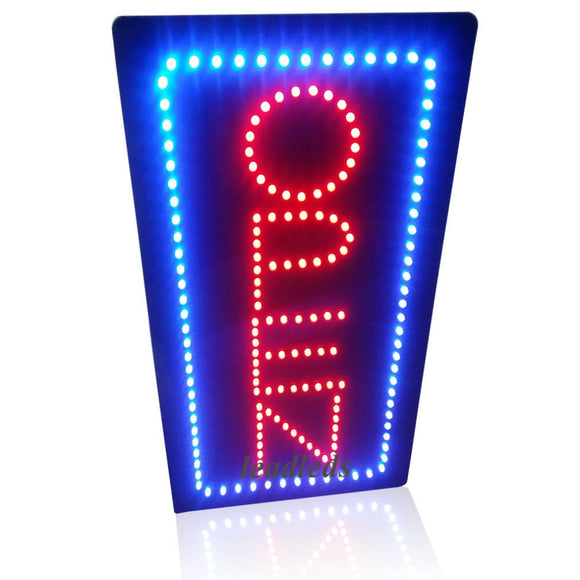 Verticle Open Sign Bright LED Light 19x10