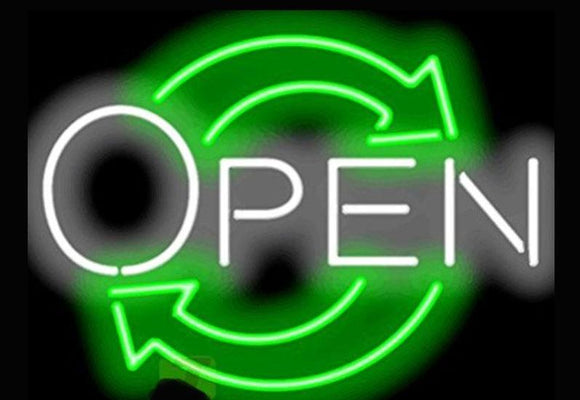 Open Neon Sign With Arrows - Comes in 2 sizes