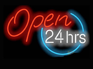 Open 24 hours hours neon open sign