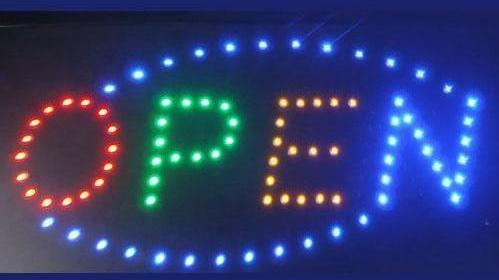 Small Open Led Sign With Oval Border Neonsignly