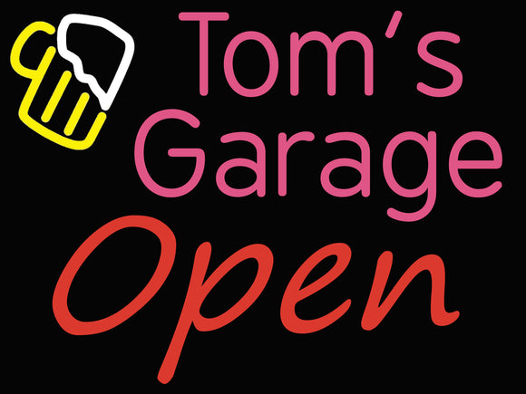 Custom Tom's Garage Neon Sign