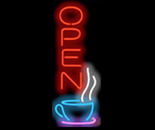 Vertical Coffee Shop Neon Open Sign