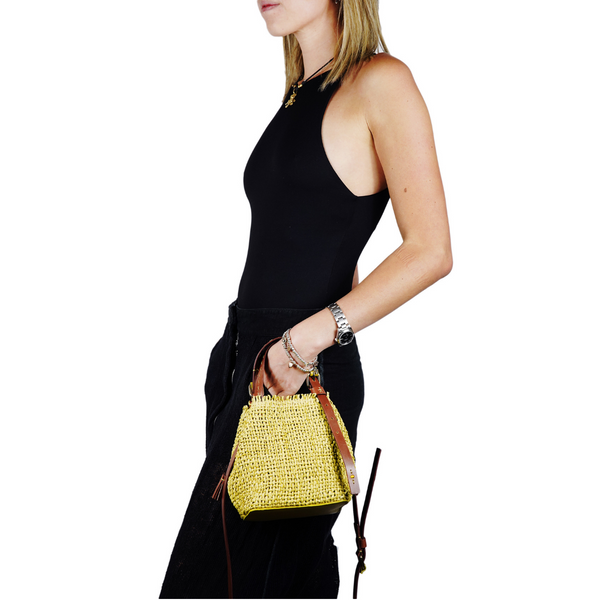 Online Austaralia Riada Concept Sydney Woollahra Luxury Fashion Boutique Henry Beguelin New Daria Woven Handbag in Yellown and Tan