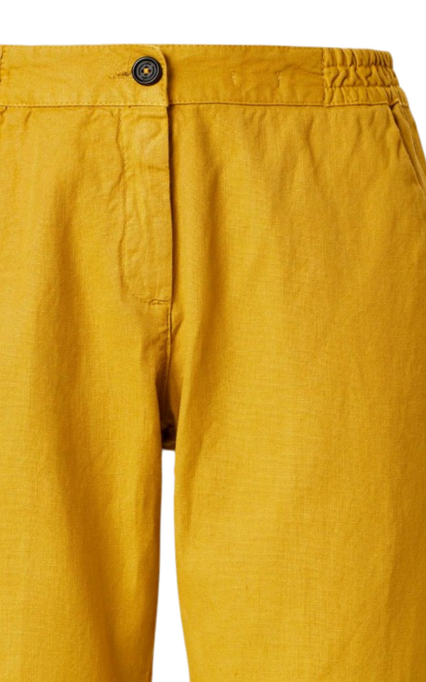 Massimo Alba Sparus Linen/Cotton Cropped in Mustard Woollahra Sydney Australia Online Luxury Boutique Riada Concept Trousers
