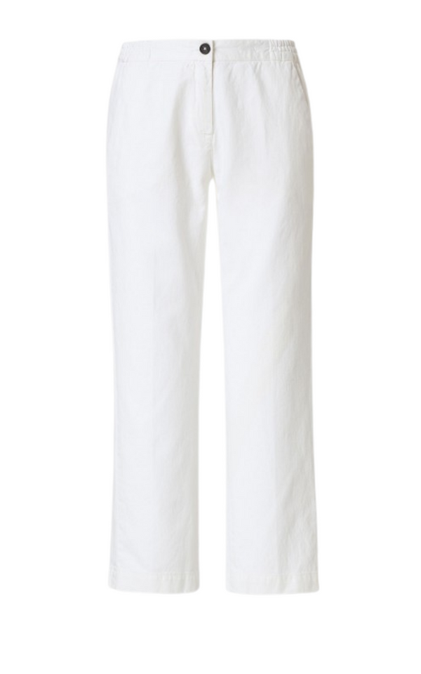 Massimo Alba Sparus Linen/Cotton Cropped Trousers in White - More Colours