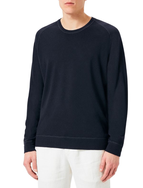Massimo Alba Men's Navy Blue Cotton/Cashmere Sport Knit Jumper Woollahra Sydney Australia Online Riada Concept Luxury Fashion Boutique