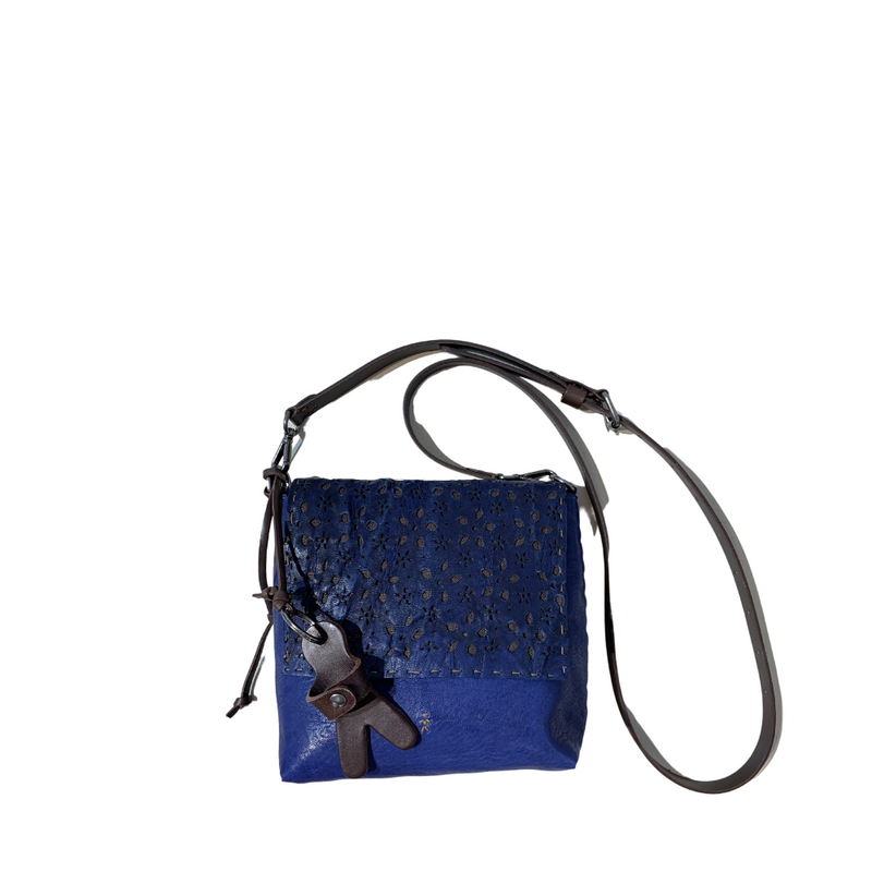 Luxury fashion boutique riada concept fashion Online Sydney Australia Woollahra Henry Beguelin Blue Diva Traforato Small Floral Perforated Handbag