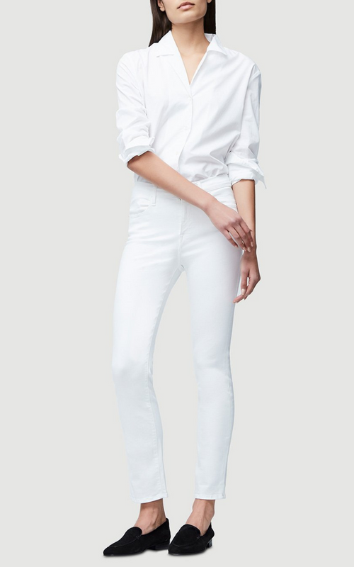 FRAME Le High Straight White Jeans