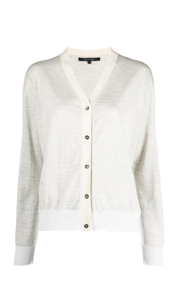 Sofie D'Hoore Mystery Off White/Mélange Grey Fine Knit Cardigan Woollarah Sydney online Australia luxury fashion boutique Riada concept