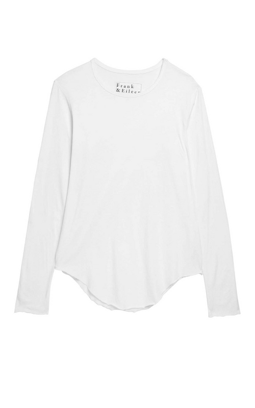 Frank & Eileen Long Sleeve Fitted Crew White Tee