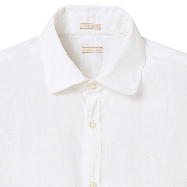 Massimo Alba Men's Canary Shirt in White Linen Woollahra Sydney Online Australia Luxury Fashion Boutique Riada Concept