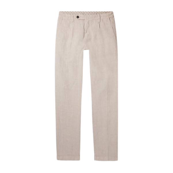 Massimo Alba Men's Beige Ionio2 Linen Trousers