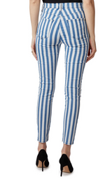J Brand Lillie High Rise Crop Skinny Blue and White Stripe