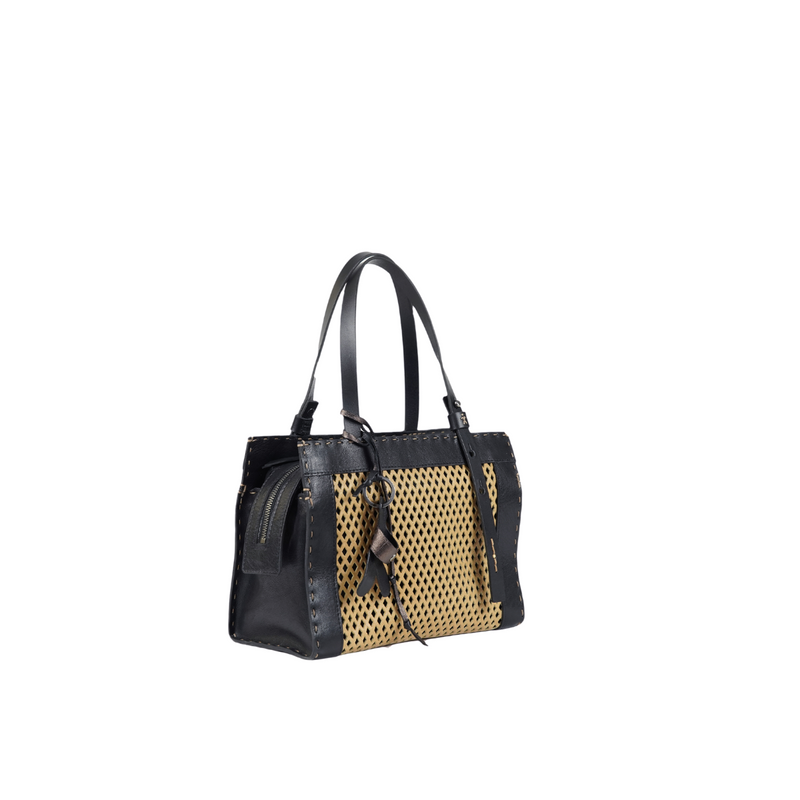 Online Austaralia Riada Concept Sydney Woollahra Luxury Fashion Boutique Henry Beguelin Medium Adriana Rombi Beige and Black Handbag