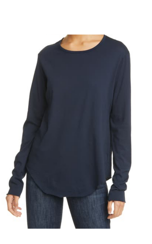 Frank & Eileen Long Sleeve Fitted Crew Navy Tee