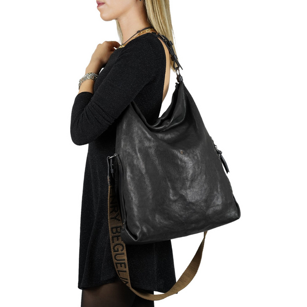 Henry Beguelin Valencia Ricamo Black drawstring bucket bag - FINAL SALE
