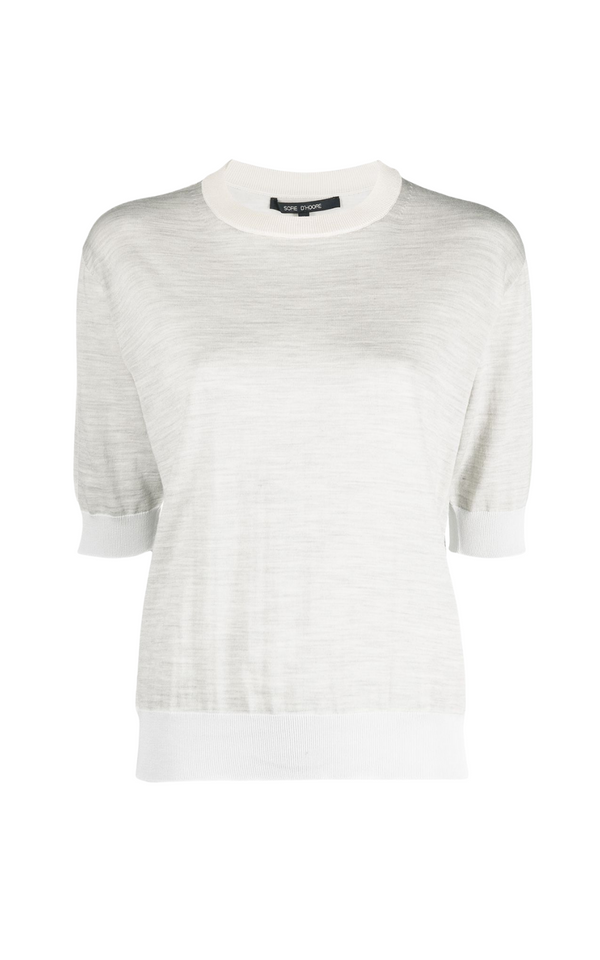 Sofie D'Hoore Muse Short Sleeve Fine Knit Top in Grey Mélange Woollarah Sydney online Australia luxury fashion boutique Riada concept