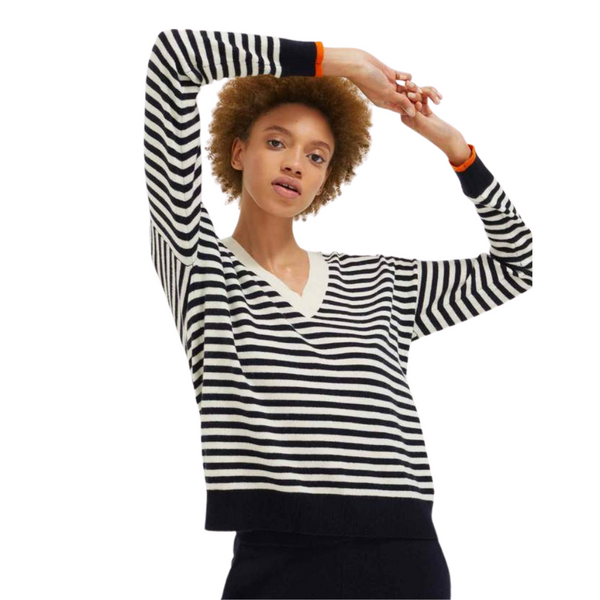 Chinti and Parker Navy Stripe Wool-Cashmere V-Neck Sweater
