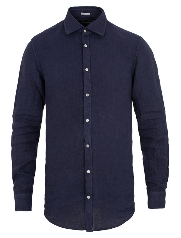Massimo Alba Men's Round Collar Canary Shirt in Navy Linen Woollahra Sydney Online Australia Luxury Fashion Boutique