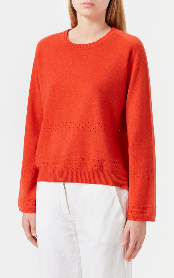 Woollahra Sydney Australia Online Luxury Boutique Riada Concept Massimo Alba Eloise Cashmere Sweater in Poppy