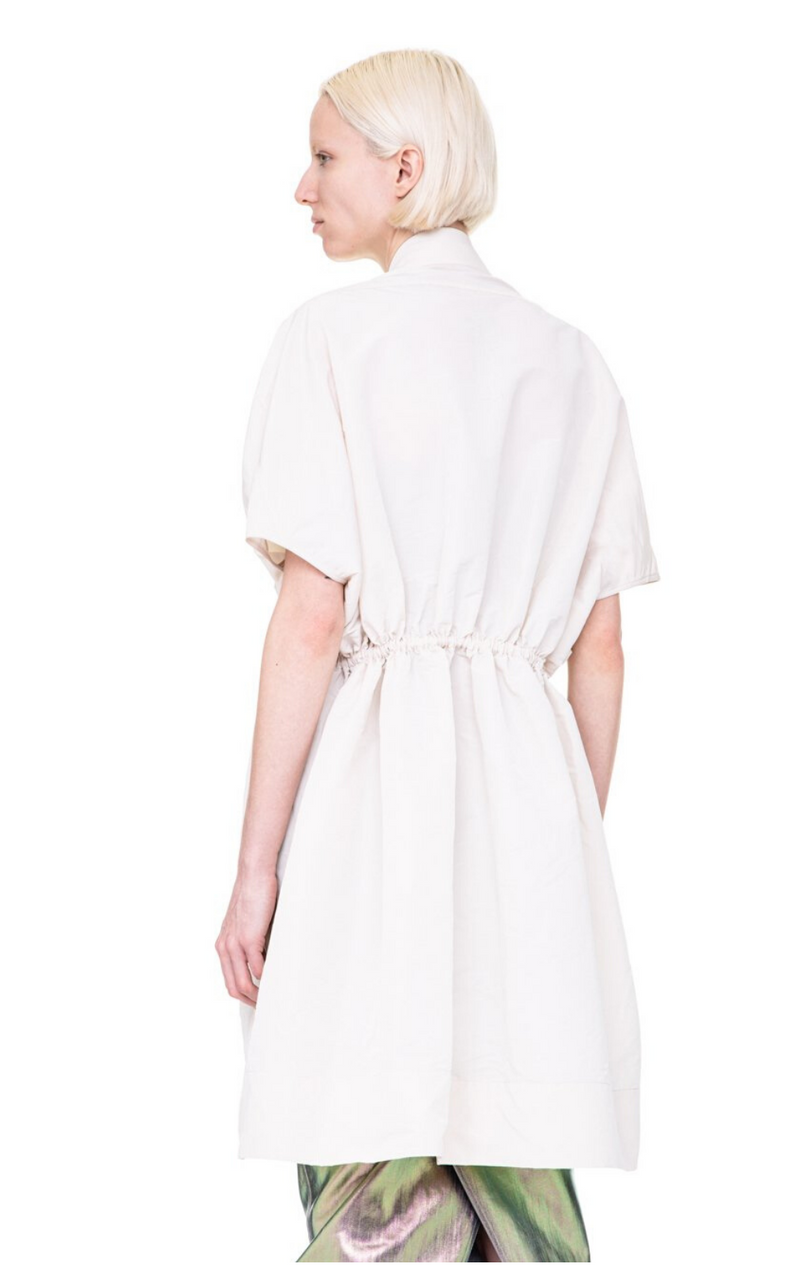 Rick Owens Sail Biker Woven Coat in Champagne