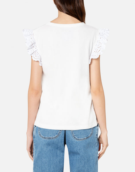 Philosophy Di Lorenzo Serafini White Lace Frill T- Shirt Riada Concept Luxury Fashion Boutique Australia