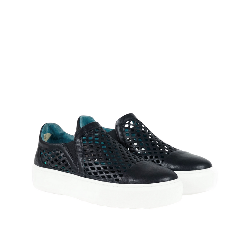 Online Austaralia Riada Concept Sydney Woollahra Luxury Fashion Boutique Henry Beguelin Black Laser Cut Out Slip On Sneaker