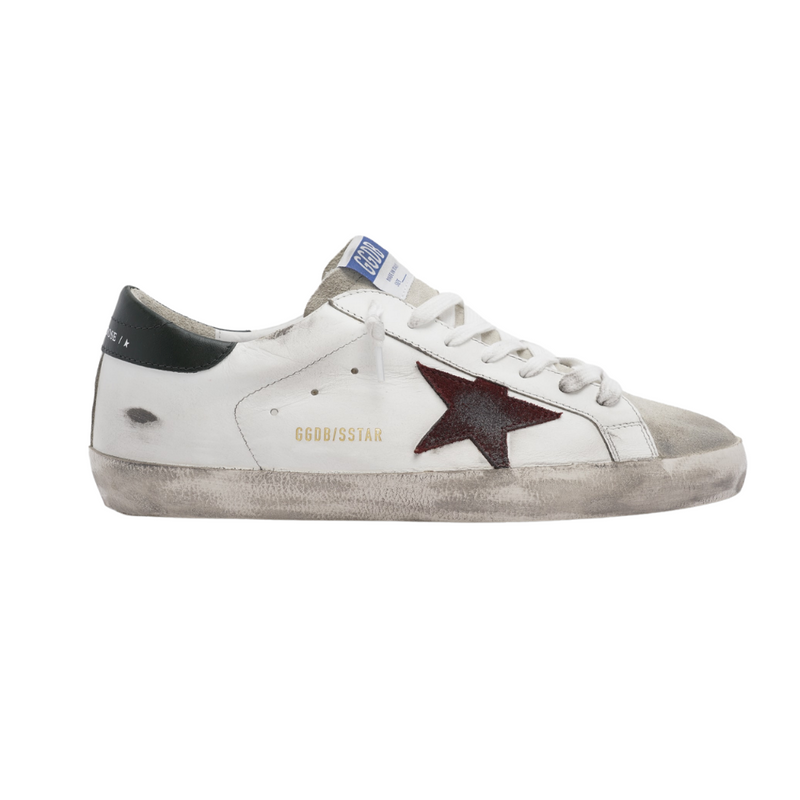 Golden Goose Mens Burgundy Star Superstar Sneakers with Army Green Heel Riada Concept Woollahra Sydney Australia Online Luxury Boutique
