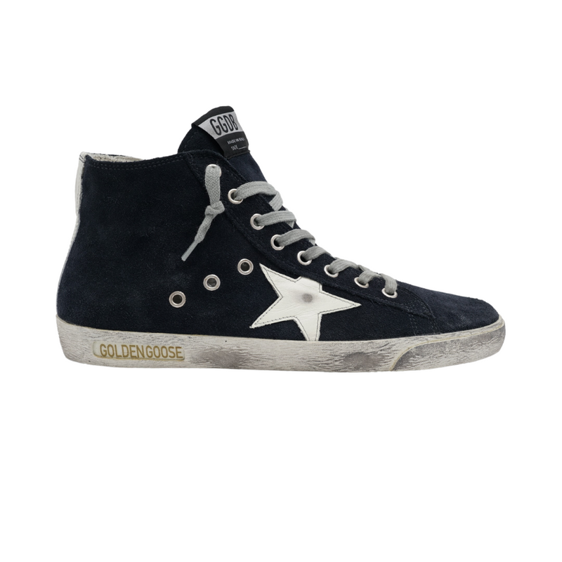Golden Goose Men's Francy High Top Navy Suede Sneakers with White Star  Luxury Fashion Boutique Woollahra Sydney Australia Online Riada Concept