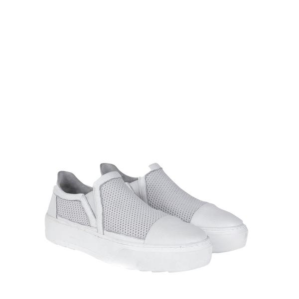 Online Austaralia Riada Concept Sydney Woollahra Luxury Fashion Boutique Henry Beguelin White Leather and Mesh Slip On Sneaker